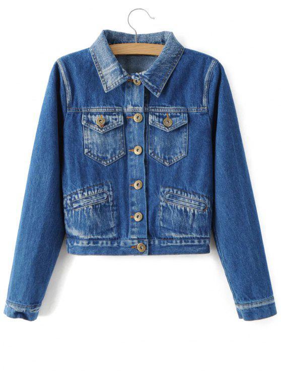 Bleach Wash Denim Jacket - Blue