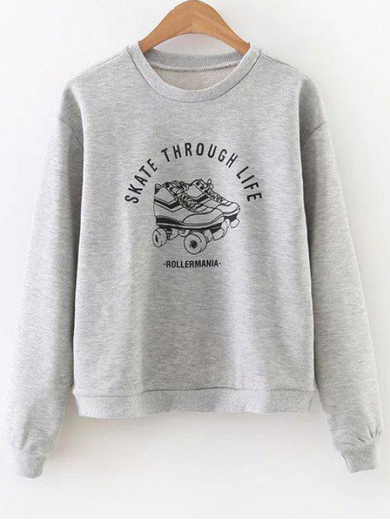 Skate Through Life Graphic Sweatshirt - Grau S