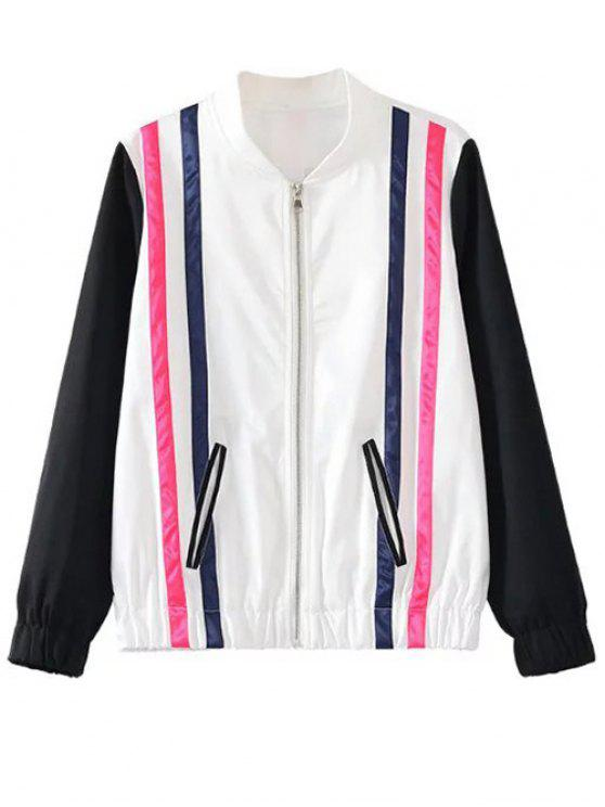 shop Striped Jacket - WHITE AND BLACK M
