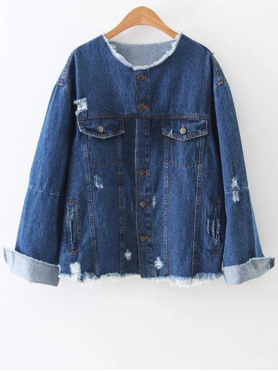 outfits Raw Cut Patched Back Denim Jacket - BLUE L