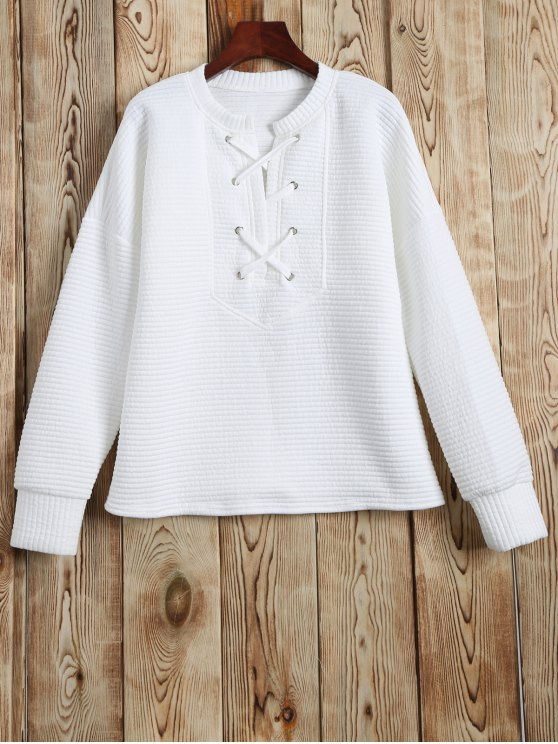 Round Neck Lace Up Sweatshirt - Blanc XL