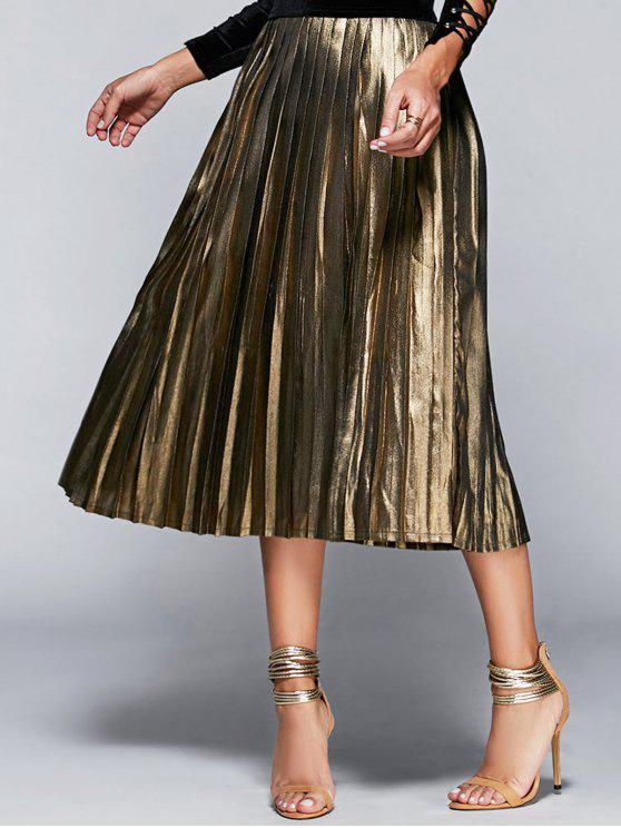 best High Waisted Pleated Midi Skirt - CHAMPAGNE S