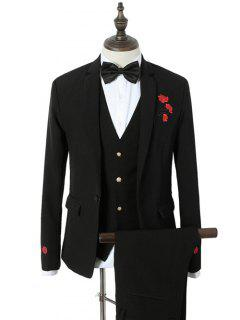 Single Breasted Rose Embroidered Three-Piece Suit - Black M