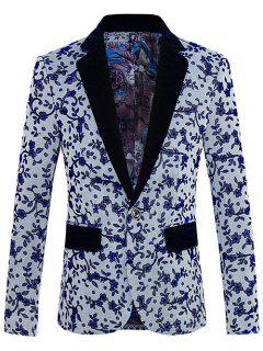 Floral Pattern One-Button Lapel Long Sleeve Blazer For Men - Gray L
