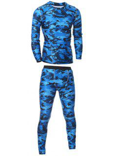 Camo T-Shirt And Elastic Waist Gym Pants Twinset - Blue L