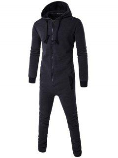 Slim-Fit Zip-Up Color Block Hooded Jumpsuit - Deep Gray M