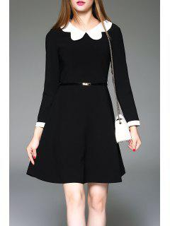 Peter Pan Collared Dress - Black L