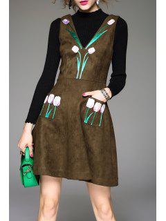Flower Embroidered Suede Dress - Blackish Green S