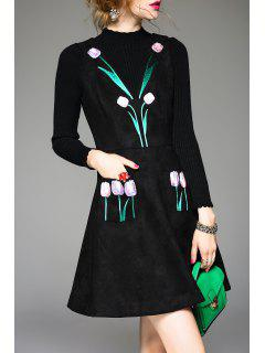 Flower Embroidered Suede Dress - Black S