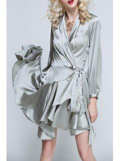 Asymmetric Surplice Wrap Dress - Silver Grey M