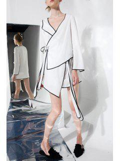 Vestido Envuelto Mini Asimétrico - Blanco S