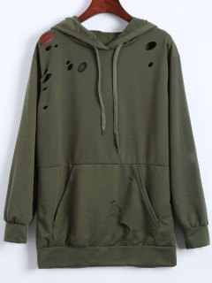 Ripped Hoodie - Army Green M