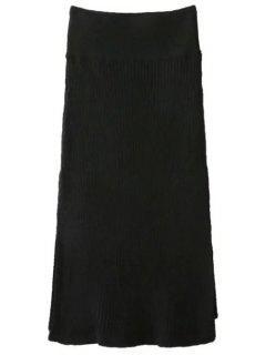 Side Slit Midi Sweater Skirt - Black
