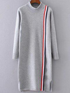 Colorful Stripe Sweater Dress - Gray