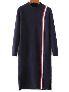Colorful Stripe Sweater Dress - Purplish Blue