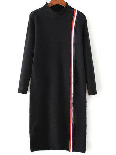 Colorful Stripe Sweater Dress - Black