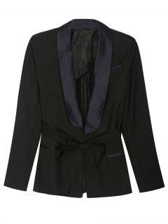 Pajama Style Belted Blazer - Black S