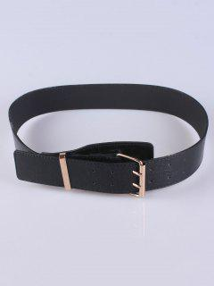 Double Pins Buckle Wide Belt - Black