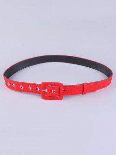 Rectangle Pin Buckle Wide Cloth Belt - Red