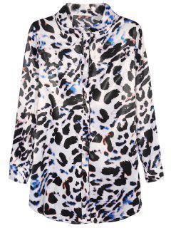 Leopard Print Chiffon Shirt - Leopard S