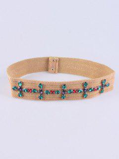 Faux Crystal Knitted W Stretch Belt - Light Camel
