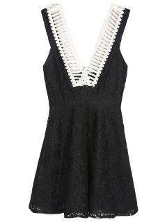 Deep V Neck Skater Dress - Black M