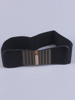 Metal Minus Buckle Stretch Belt - Black