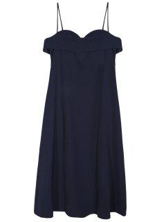 Midi Slip Dress - Deep Blue M