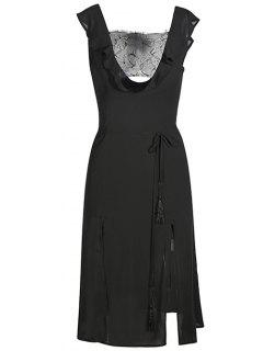 Mesh Trim Plunge Dress - Black S