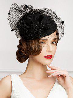 Polka Dot Veil Velvet Flower Pillbox Hat - Black