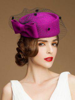 Big Bow Veil Pillbox Hat - Purplish Red