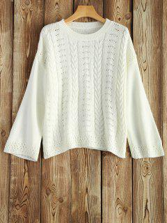 Round Neck Hollow Out Sweater - White