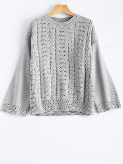 Pull A Col Rond Creux  - Gris