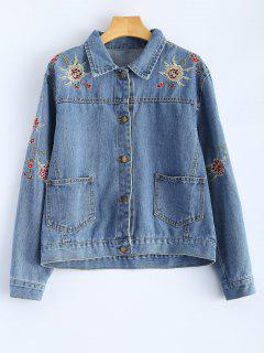 Retro Floral Embroidered Denim Jacket - Denim Blue S