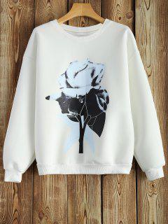 Crew Neck Chinese Painting Print Sweatshirt - White S