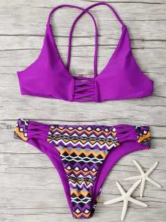Strappy Zig Zag Bikini - Purple S