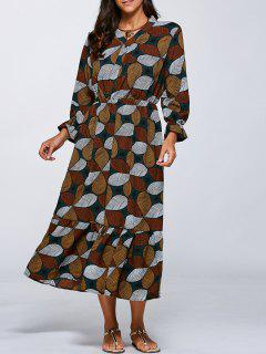 Flounced V Neck Retro Print Dress