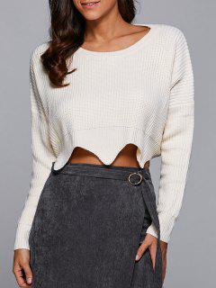 Col Rond Recadrée Festonné Sweater - Blanc