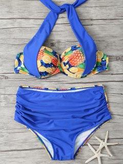 Talle Alto Piña Imprimir Bikini - Azul Zafiro M