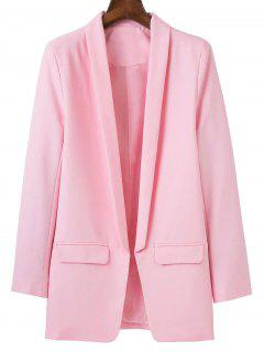 Lapel Blazer With Flap Pockets - Pink S