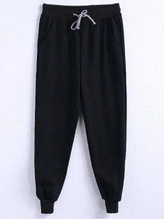 Drawstring Jogger Running Pants - Black 3xl