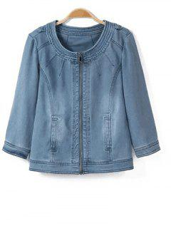 Round Neck Denim Jacket - Light Blue S