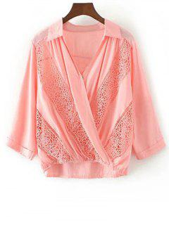 Lace Panel Surplice Top - Pink S