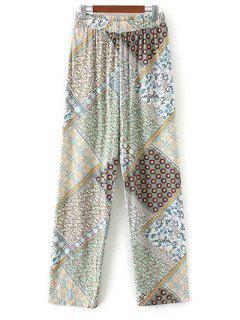 Boho Impreso Pantalones Palazzo - Verde L
