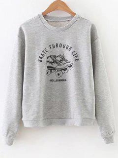 Skate Through Life Graphic Sweatshirt - Gray S