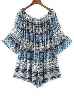 Off Shoulder Printed Boho Romper - Blue L