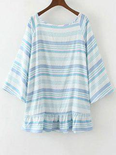 Striped Low Back Tunique - Bleu S