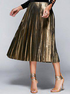 High Waisted Pleated Midi Skirt - Champagne S