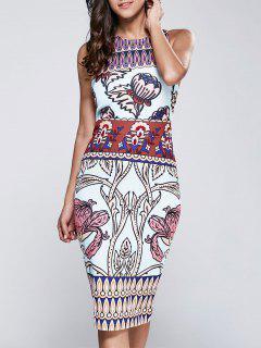 Printed Sleeveless Racerback Dress - Multi S