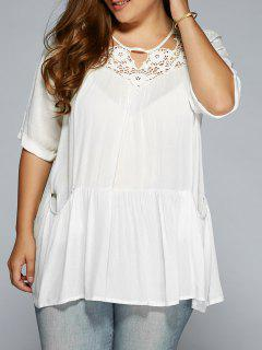 Crochet Yoke Ruffle Hem Smock Top - White